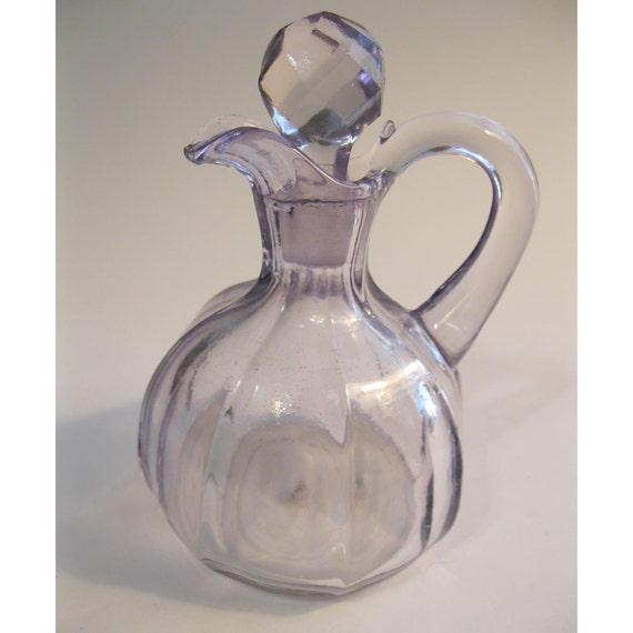 Vintage Lavender Glass Pitcher With Faceted Glass By