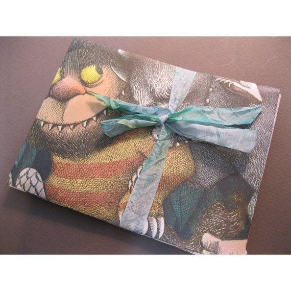 handmade recycled WHeRe THe WiLD THiNGS aRe stationary - 6 cards with envelopes