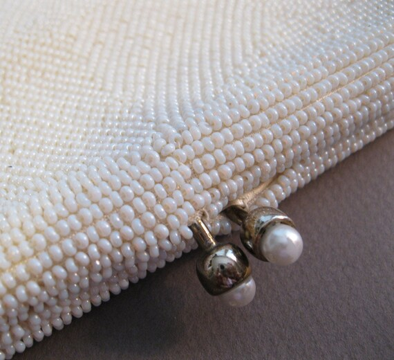 vintage white beaded clutch with gold tone hardware  RICHERE - handmade in Japan