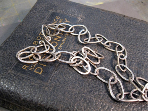 SALE - handmade hand forged LARGE LINK sterling silver chain