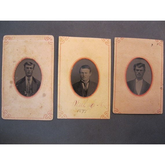 SALE - 3 antique tintype photos in paper frames - MEN, cartouches - late 1800s, civil war era, ferrotype - TT129