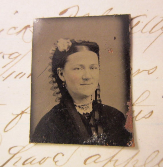 miniature tintype photo - woman with LACE headpiece -  GT927
