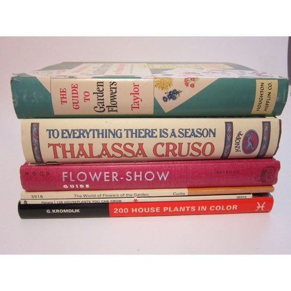 SALE - 6 vintage books - FLOWERS and HOUSEPLANTS - reference, information, identification guides - instant collection