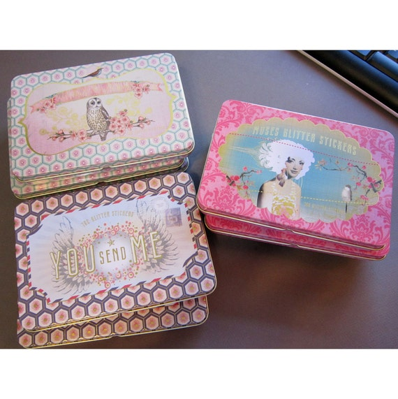 9 tins for crafting - small tins with hinged lids - beautiful graphics - reclaimed, recycled, repurpose, gift tins