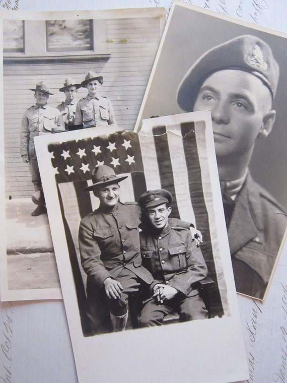 3 antique photos - MILITARY - black and white - circa 1918 to 1940s - great image of American Flag