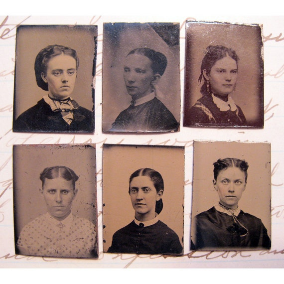 6 miniature antique GEM tintype photos- WOMEN - three identified - Armstrong, Blodgett, Reed - late 1800s - lot L31