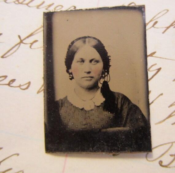 SALE - antique mini gem tintype photo - beautiful WOMAN with hair tassle - late 1800s, ferrotype - GTA20