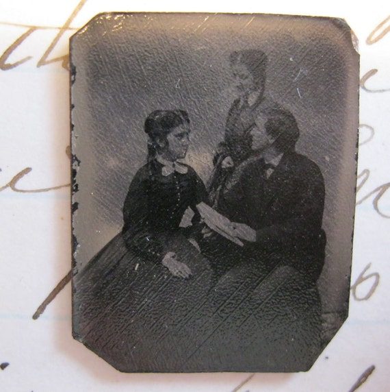 SALE - antique miniature tintype photo - two women and a man, reading from book, multiples, SITTERS, seated - late 1800s, ferrotype - GT193