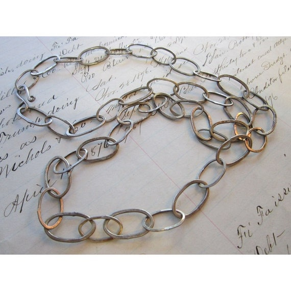 handmade sterling silver chain - hand forged - LARGE LINK - perfect for layering