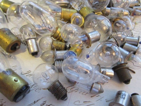 steampunk junk - assorted small light bulbs - 78 pieces - assemblage - jewelry design - shrines - altered art