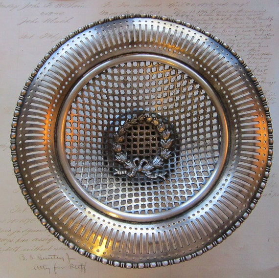 antique L.B.S. Co silverplate holloware basket compote - Lawrence B Smith Co. - footed dish - hallmarks, Sheffield