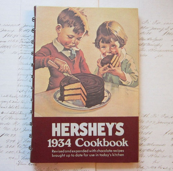 SALE - vintage cookbook - HERSHEY'S 1934 Cookbook - 1971 publication - spiral bound, lay flat, hardcover
