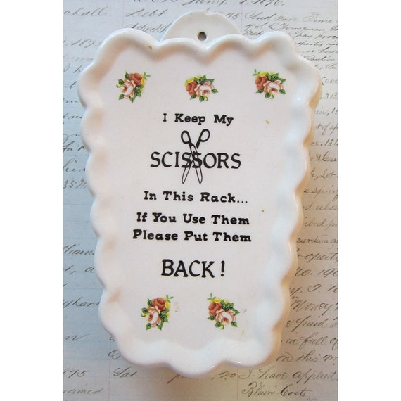 RESERVED for Q - vintage scissor keeper - ceramic, holds scissors