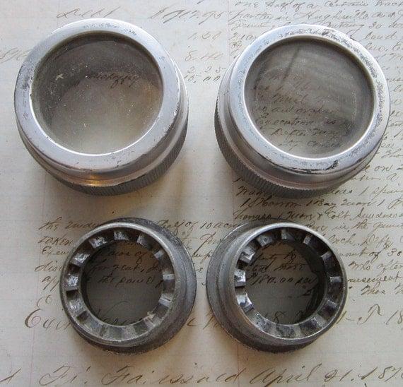 metal lenses and valves - steampunk fodder - salvaged