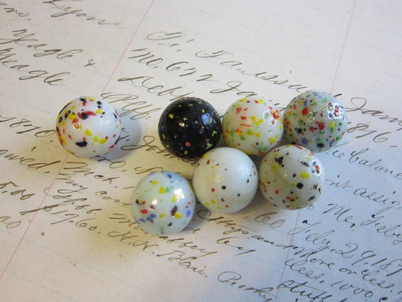 7 Confetti Glass Marbles Speckled