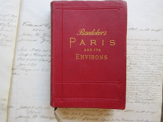 antique book - Baedeker's PARIS and its Environs - circa 1910 - with foldout maps and plans