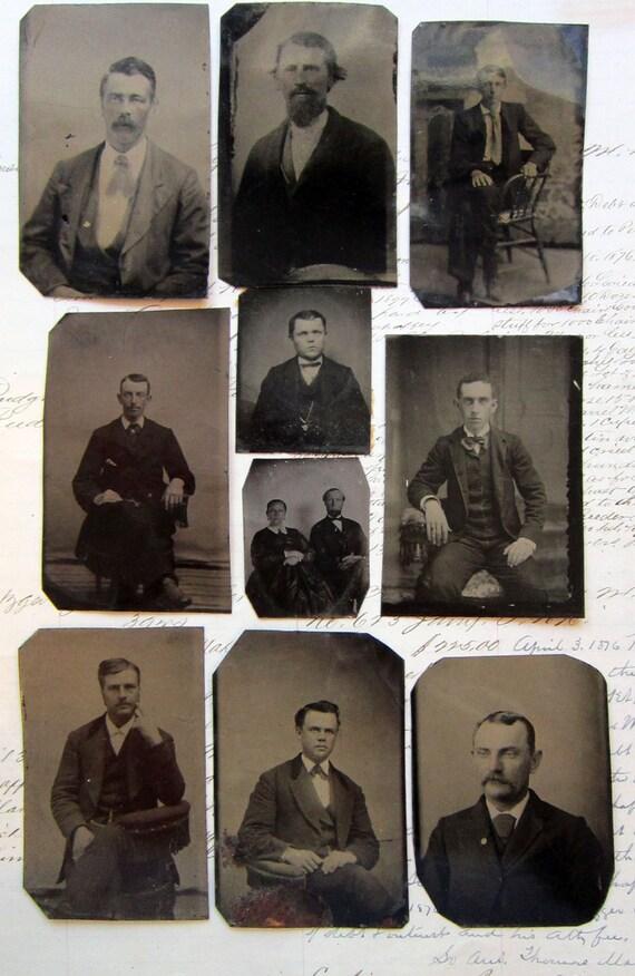 tintype DESTASH - 10 tintype photos - MEN, sitters, chairs, couple - TT434