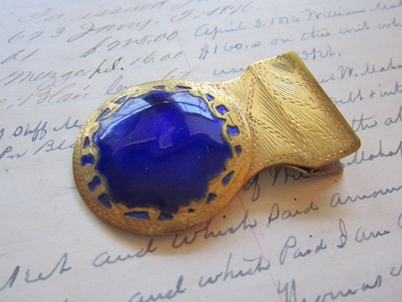 vintage book clip - bookmark - brass and blue enamel - made in ITALY