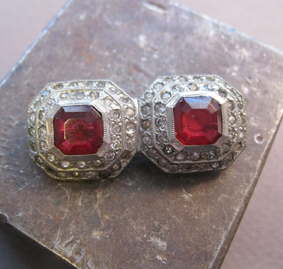 RESERVED for jackie - SALE - vintage brooch - potmetal with red and clear rhinestones