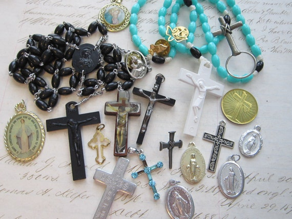 vintage religious medals, charms, rosary supplies - destash