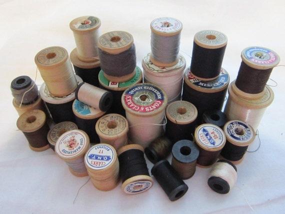 vintage thread - 32 wooden spools - BLACK and NEUTRALS