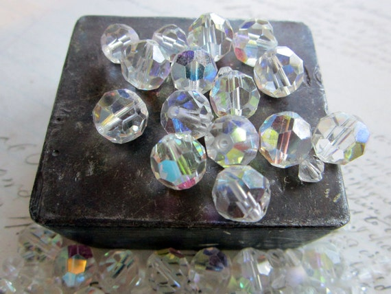 50 vintage beads plus 50 spacers - faceted clear AB glass - reclaimed, salvaged