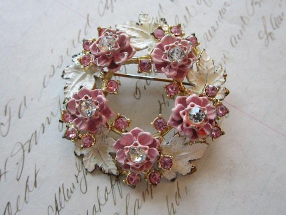 vintage brooch - pink rose wreath with rhinestones