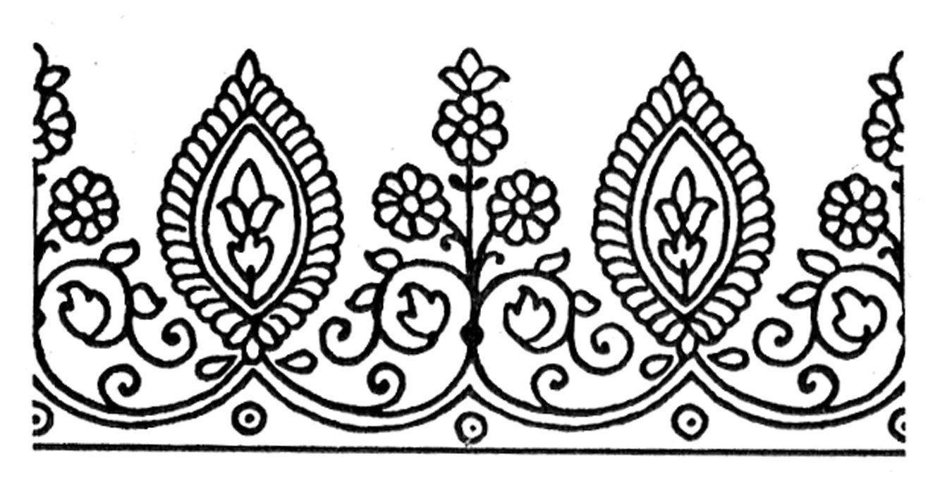 Henna Design Line Art : Rubber stamp henna style tattoo flowers exotic