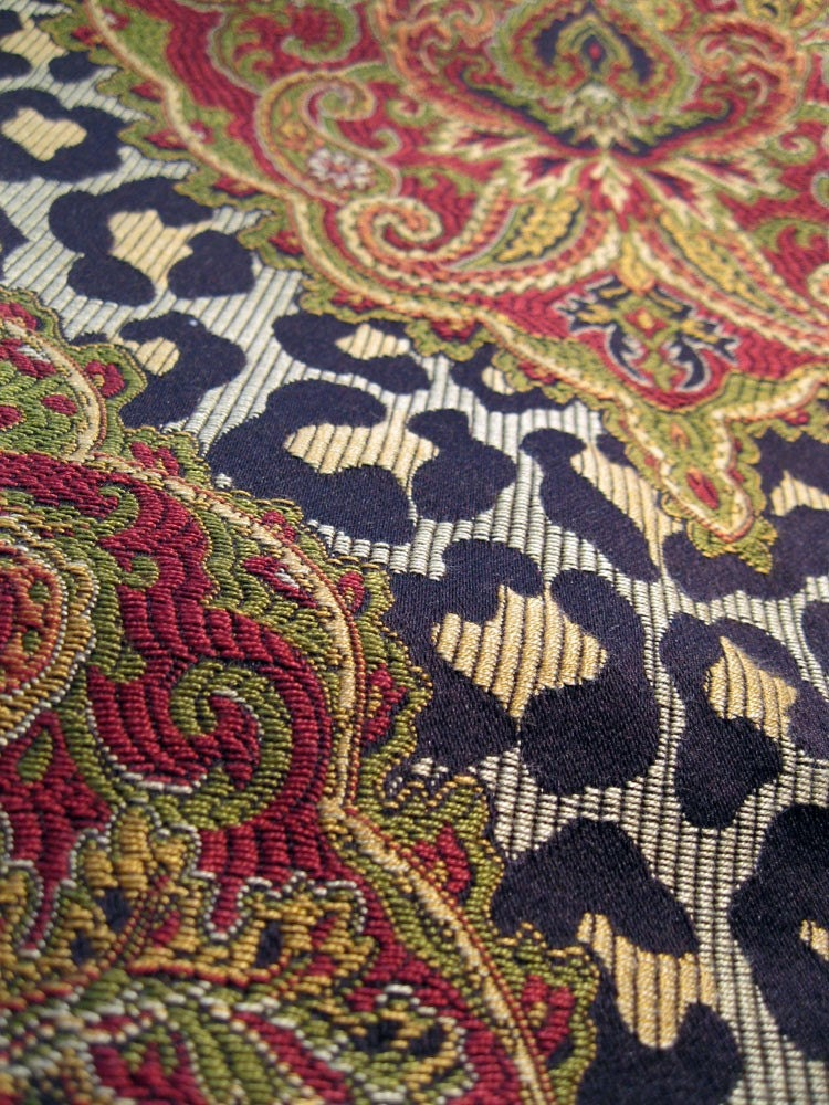 Upholstery Fabric 1 Yard Leopard Print With Paisley