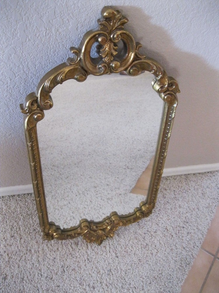 Vintage decorative mirror large framed mirror flourish for Large fancy mirrors