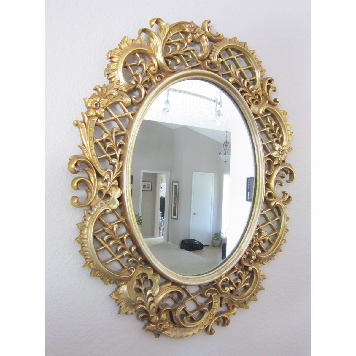 Sale vintage decorative mirror large framed mirror circa for Large framed mirrors