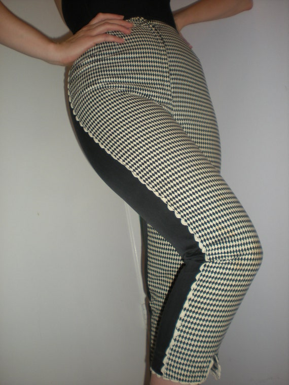 reserved 50s WILD Man Eater Pinup Harlequin two tone Capri Cigarette Pants Size S M VLV HIGH
