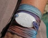 White with silver Serenity Bracelet fused glass wrap bracelet on silk ribbon