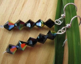Black Shimmer Crystal Dangle Earrings