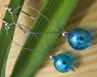 Electric Blue Murano Glass Drop Earrings