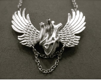 SUFI HEART WING - Solid Silver Anatomical Human Heart Necklace - Valentine's Day Gift for Men and Women - Designer Jan Hilmer