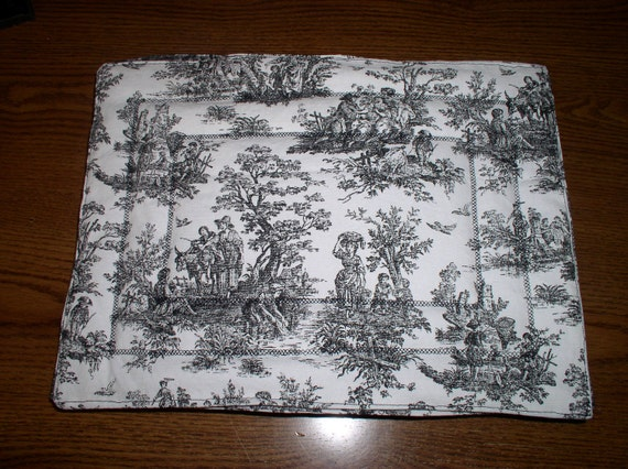 reserved for jennifer six black and white toile placemats. Black Bedroom Furniture Sets. Home Design Ideas
