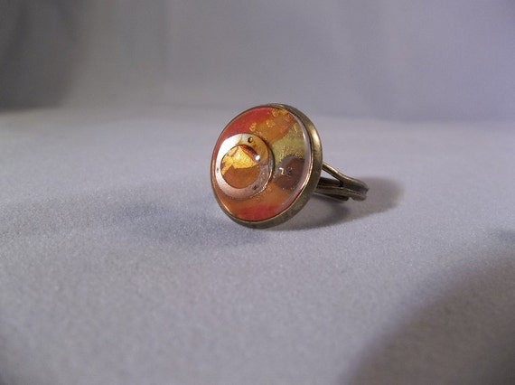 Red Glass Dome Ring adjustable antique gold finish watch parts