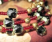 Velveteen--Cathedral Glass Memory-Wire Bracelet