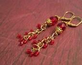 A Study in Scarlett Earrings--Red Czech Crystal Chandelier Earrings