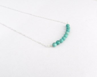 Turquoise bead bar necklace, capri, modern delicate jewelry