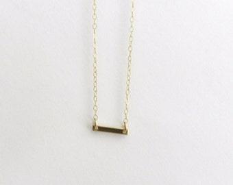 Tiny gold bar necklace, dash, sleek modern jewelry