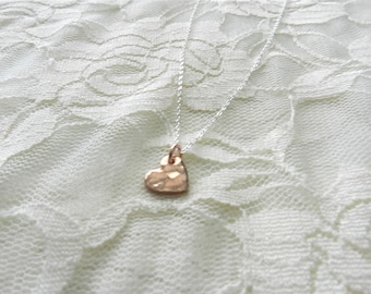 Tiny rose gold heart necklace, tiny love, bridal or everyday jewelry