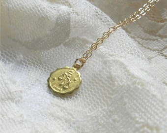 Sagittarius necklace, brass astrological charm necklace with gold filled chain, sleek modern jewelry