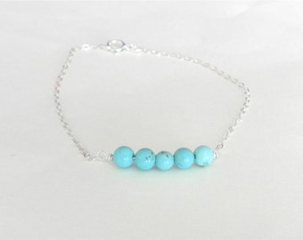 Turquoise bead bar bracelet, capri, modern delicate jewelry SALE