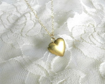 Little heart locket, 14 gold filled, cherish, gift for her