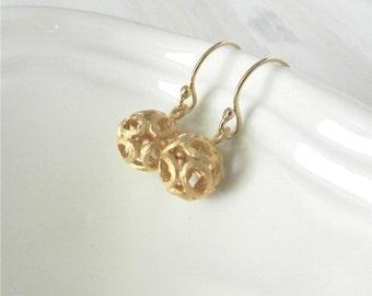 Gold filigree drop earrings, ariel, delicate modern jewelry