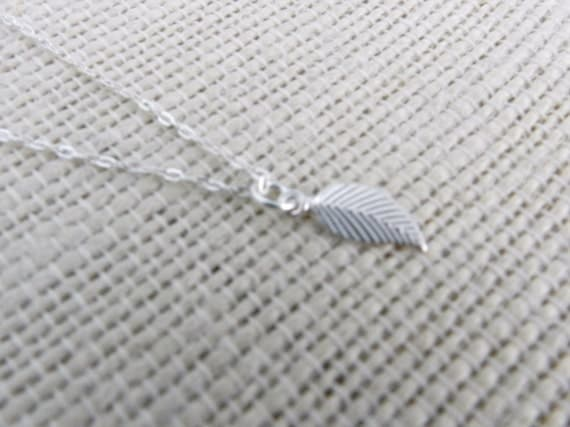 SALE Leaf necklace, sterling silver, tiny leaf, modern delicate jewelry