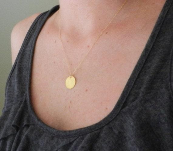 Gold vermeil disc necklace, little dot, sleek modern jewelry