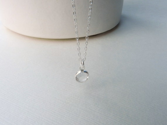 Tiny channel crystal necklace in silver, water drop, pretty dainty jewelry SALE